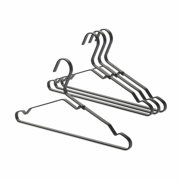 Закачалки за дрехи Brabantia Linn Black, алуминий, черни, 4 броя