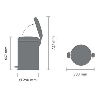 Кош за смет с педал Brabantia NewIcon 20L, Mineral Concrete Grey(6)