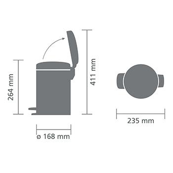 Кош за смет с педал Brabantia NewIcon 3L, Mineral Concrete Grey(3)