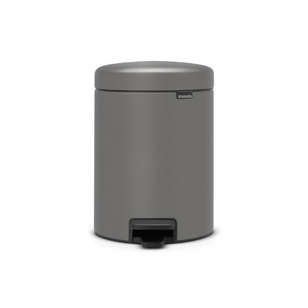 Кош за смет с педал Brabantia NewIcon 5L, Mineral Concrete Grey