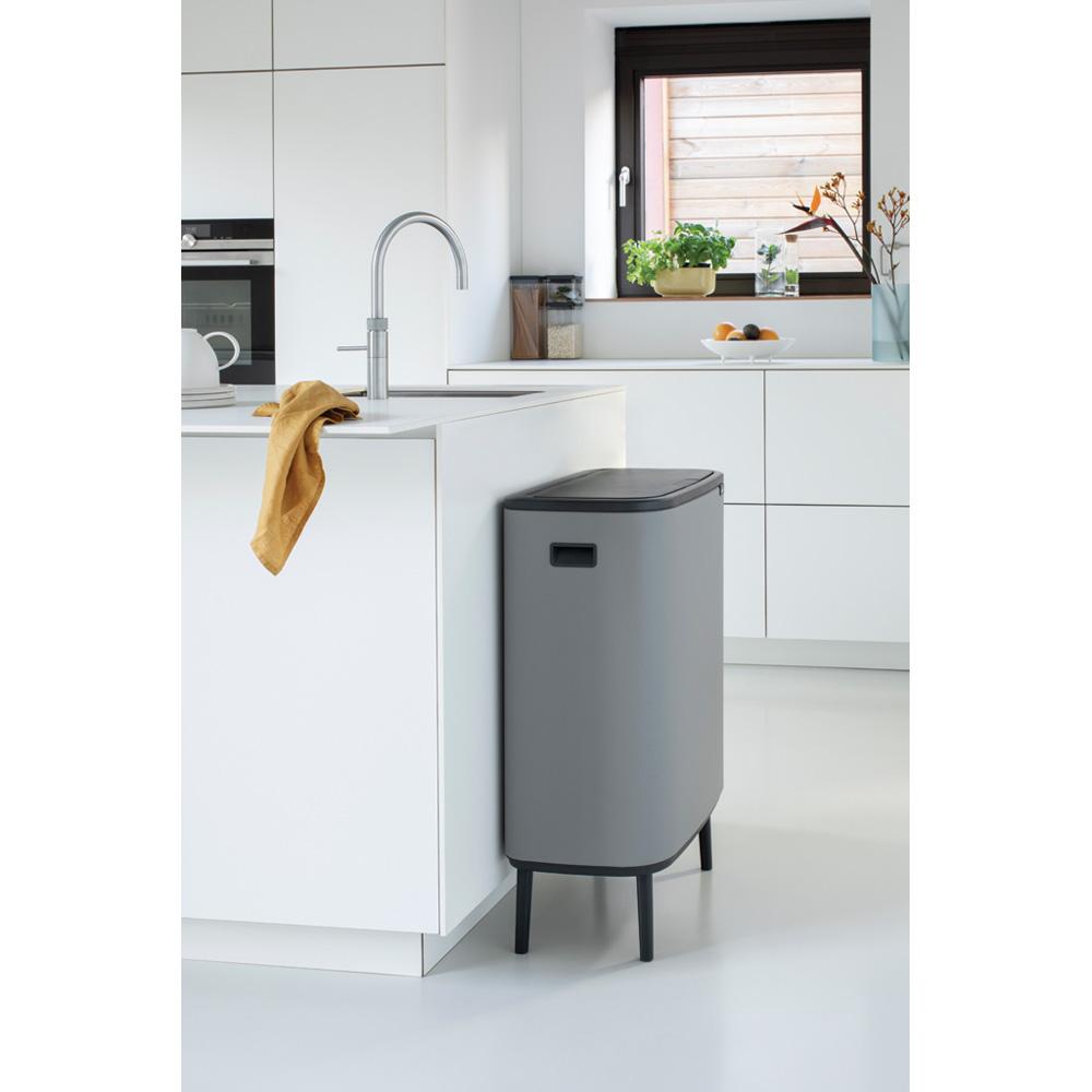 Кош за смет Brabantia Bo Touch Hi 60L, Mineral Concrete Grey(12)