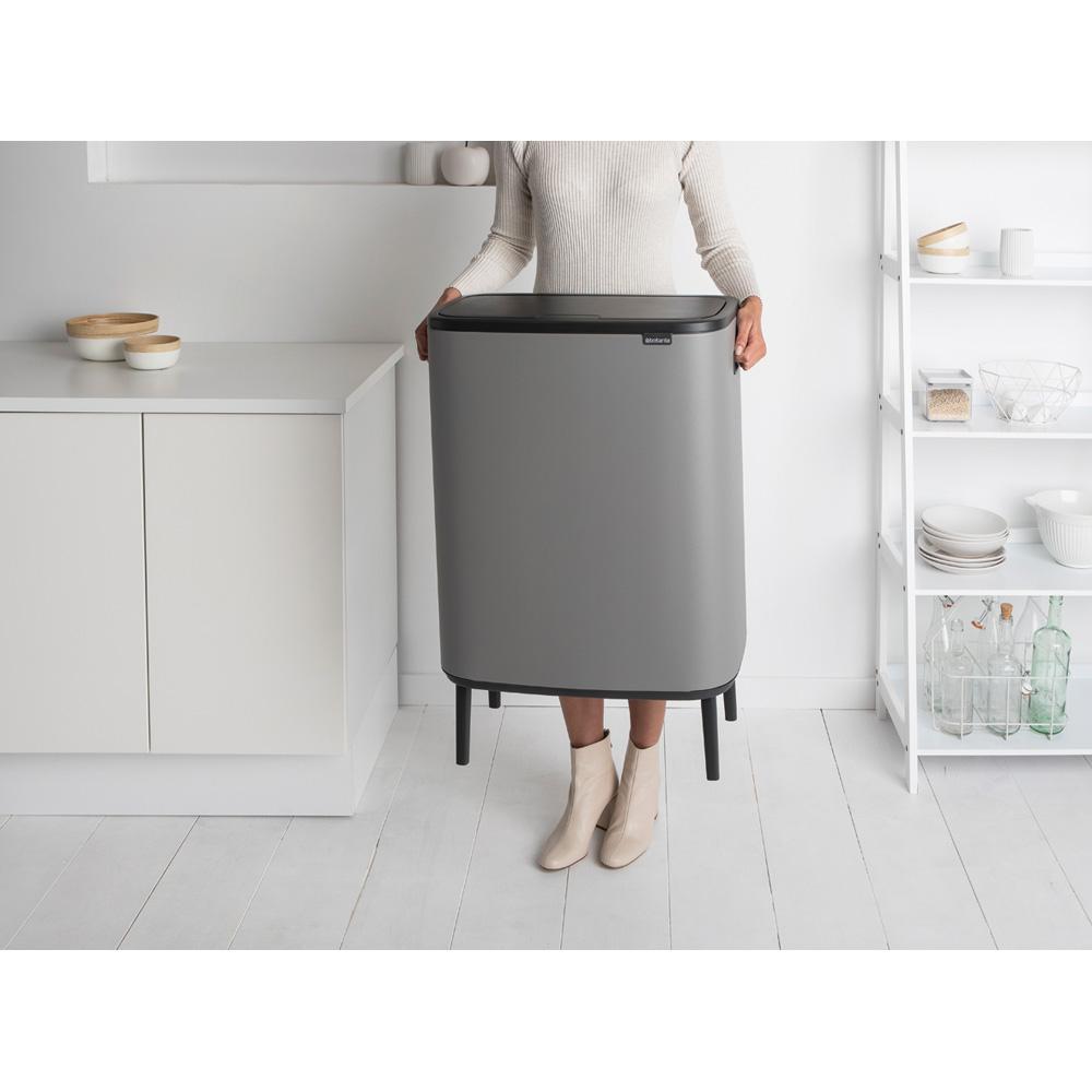 Кош за смет Brabantia Bo Touch Hi 2x30L, Mineral Concrete Grey(7)