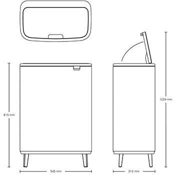 Кош за смет Brabantia Bo Touch Hi 2x30L, Mineral Concrete Grey(14)