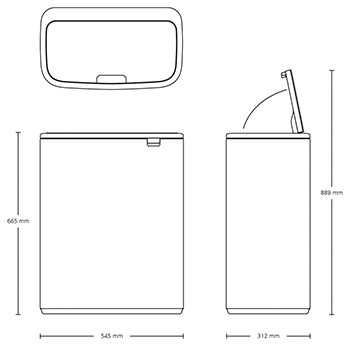 Кош за смет Brabantia Bo Touch 2x30L, White(14)