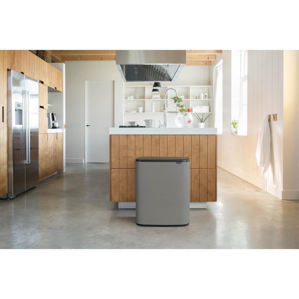 Кош за смет Brabantia Bo Touch 2x30L, Mineral Concrete Grey(11)