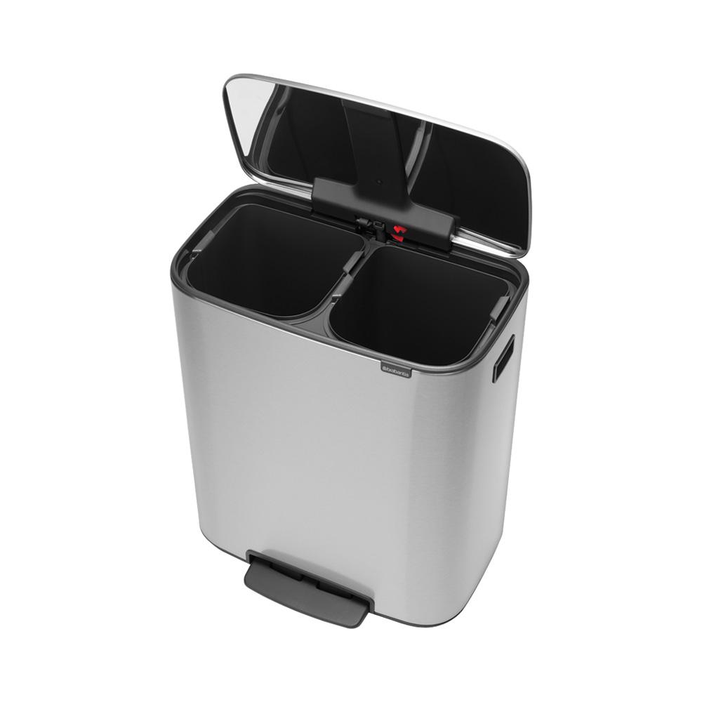 Кош за смет Brabantia Bo Pedal 2x30L, Matt Steel Fingerprint Proof(1)