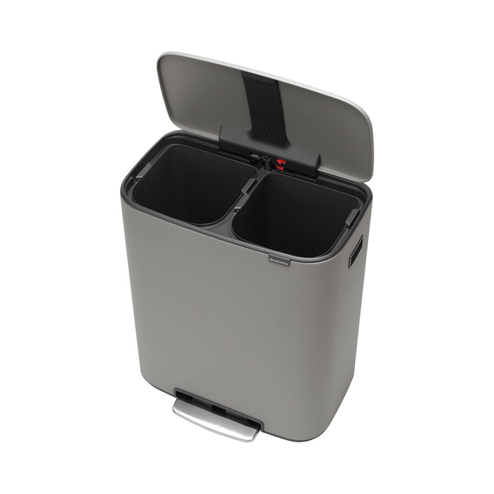 Кош за смет Brabantia Bo Pedal 2x30L, Mineral Concrete Grey(1)