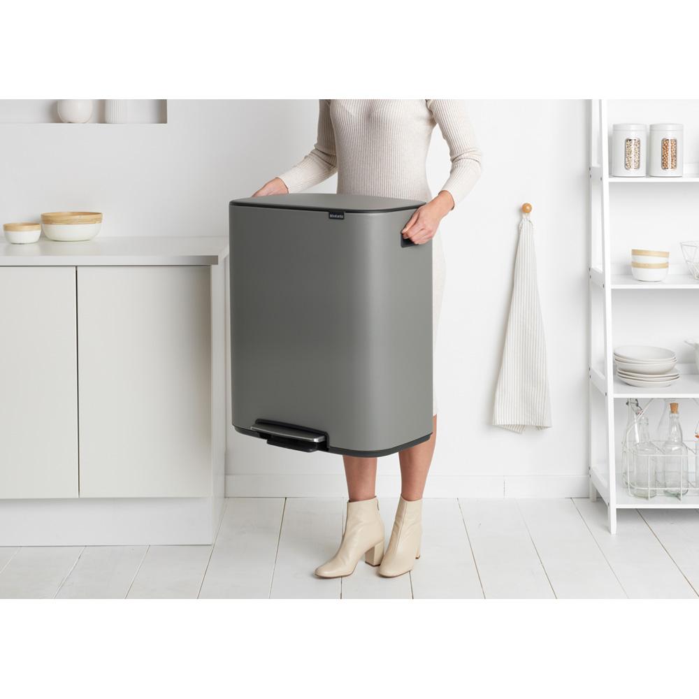 Кош за смет Brabantia Bo Pedal 2x30L, Mineral Concrete Grey(9)