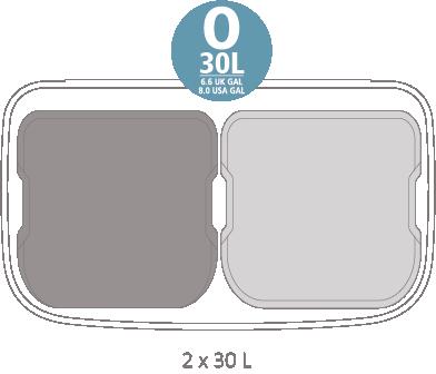 Кош за смет Brabantia Bo Pedal 2x30L, Mineral Concrete Grey(14)