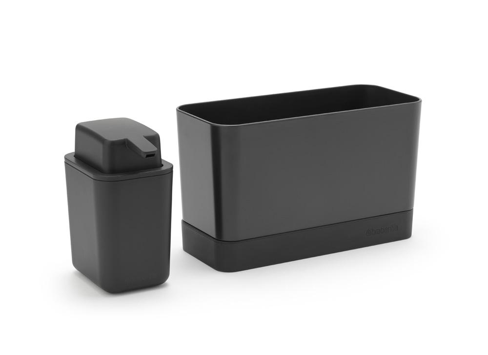 Органайзер за мивка с дозатор за течен сапун Brabantia Dark Grey(4)