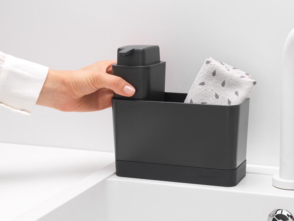 Органайзер за мивка с дозатор за течен сапун Brabantia Dark Grey(6)