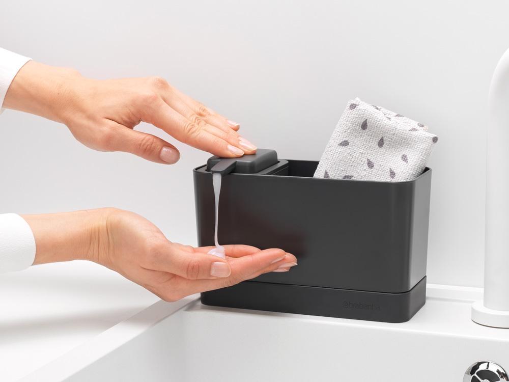 Органайзер за мивка с дозатор за течен сапун Brabantia Dark Grey(7)