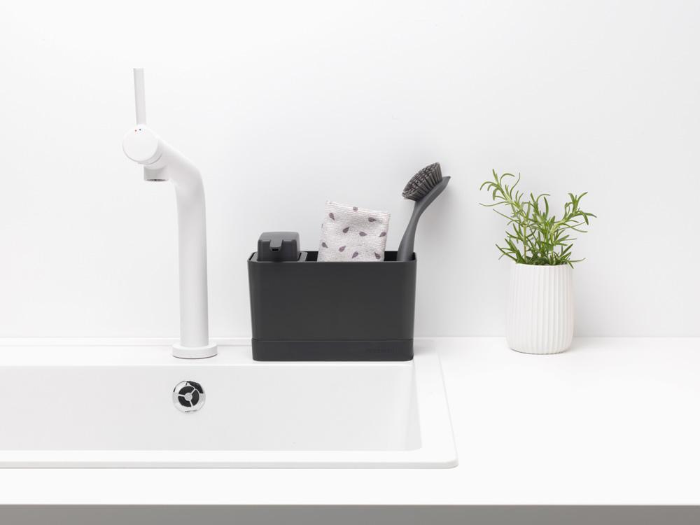 Органайзер за мивка с дозатор за течен сапун Brabantia Dark Grey(8)