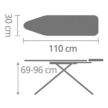 Маса за гладене Brabantia A 110x30cm с масивна поставка за ютия, Fern Shades(2)