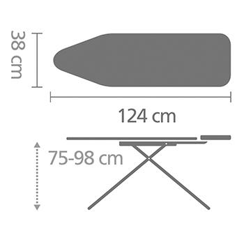 Маса за гладене Brabantia B 124x38cm с поставка за парогенератор, Titan Oval(5)