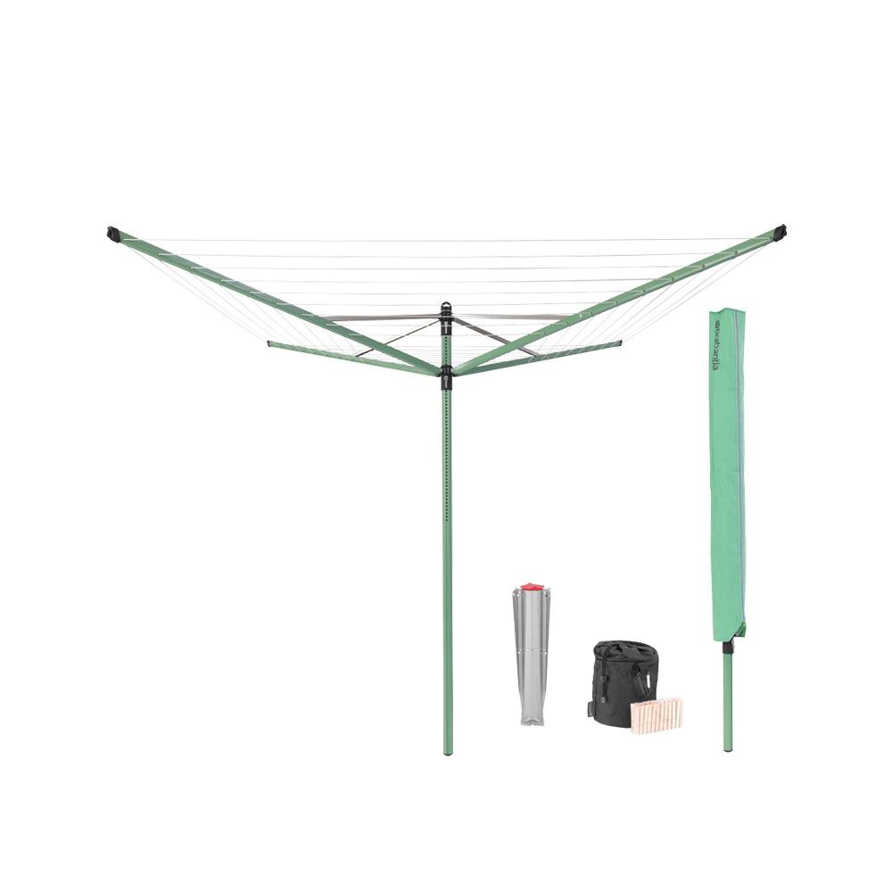 Външен простор Brabantia Lift-O-Matic 50m, метален шиш за бетониране, калъф, торба с щипки, Leaf Green