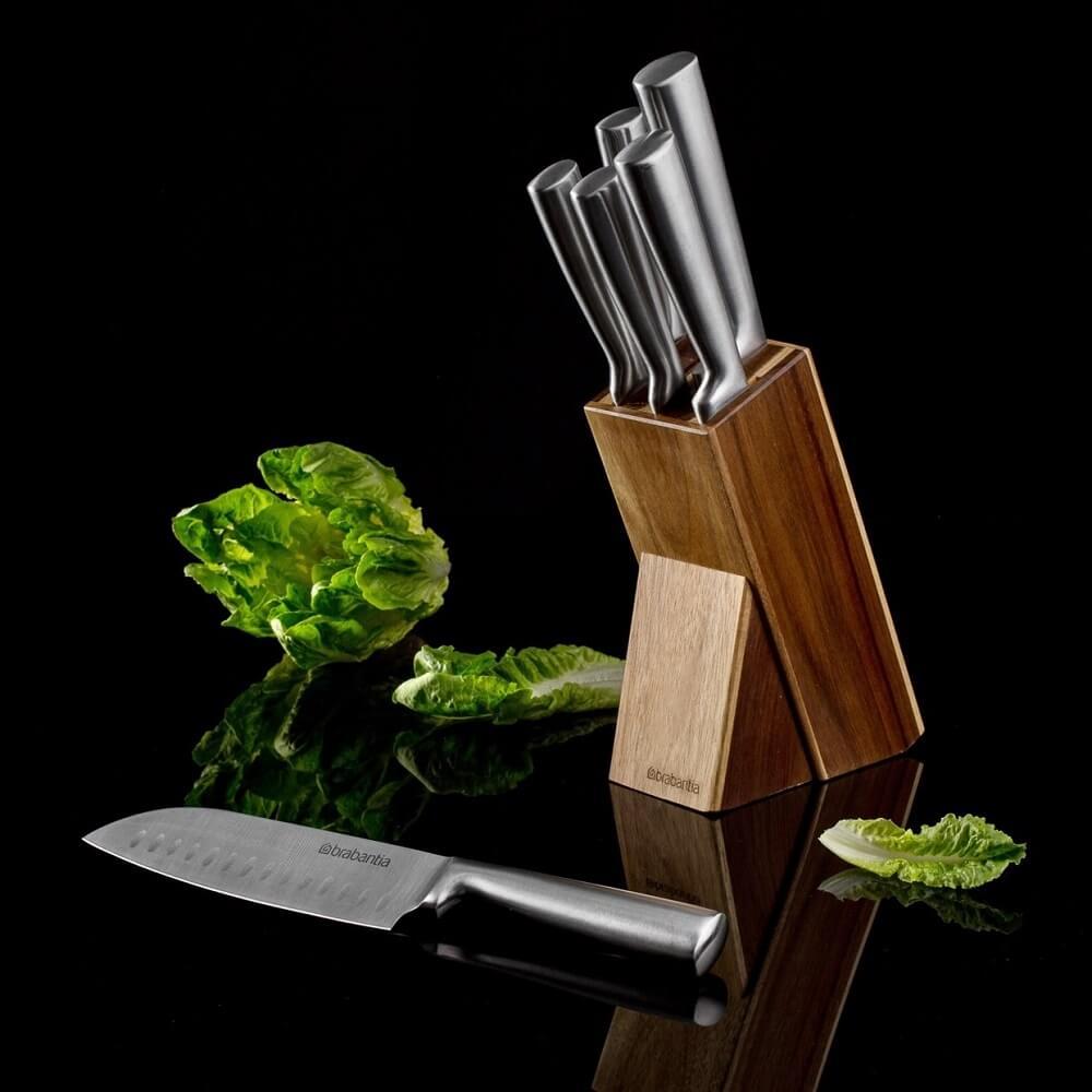 Комплект от 6 ножа Brabantia Blade и акациева стойка