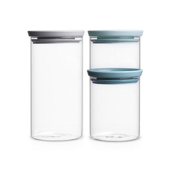 Стъклени буркани Brabantia Stackable 3 броя 0.3L+0.6L+1.1L