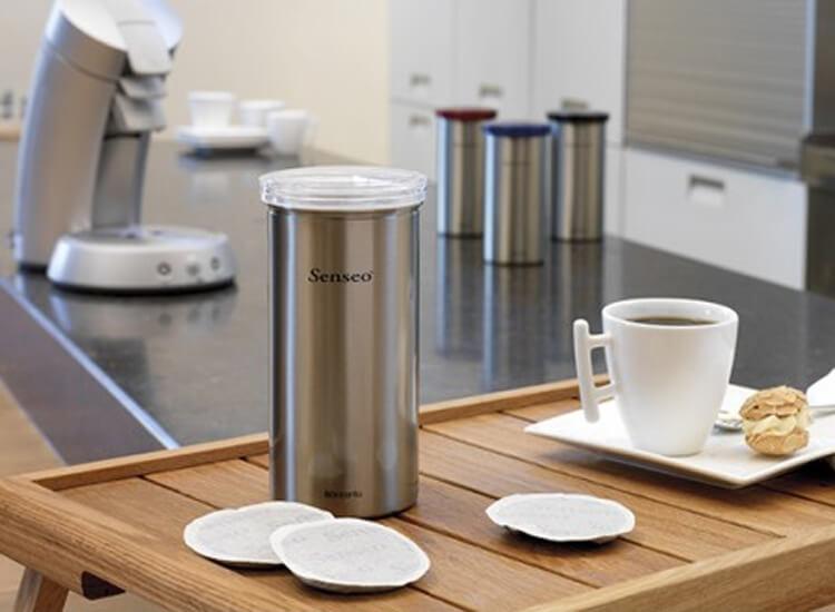 Буркан Brabantia за 18 броя кафе-капсули Matt Steel Fingerprint Proof с червен капак(3)