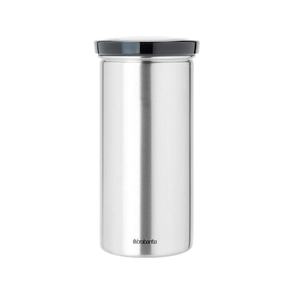 Буркан Brabantia за 18 броя кафе-капсули, Matt Steel Fingerprint Proof със сив капак