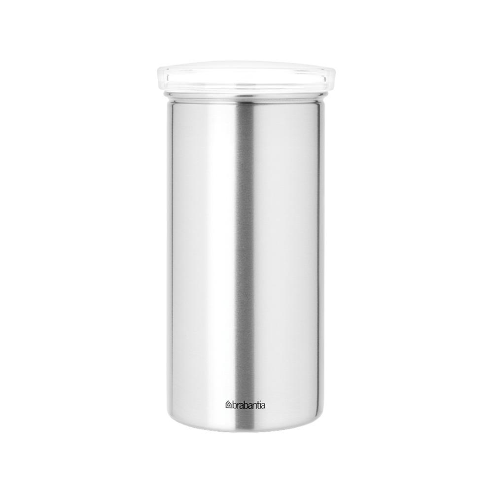 Буркан Brabantia за 18 броя кафе-капсули, Matt Steel Fingerprint Proof с прозрачен капак
