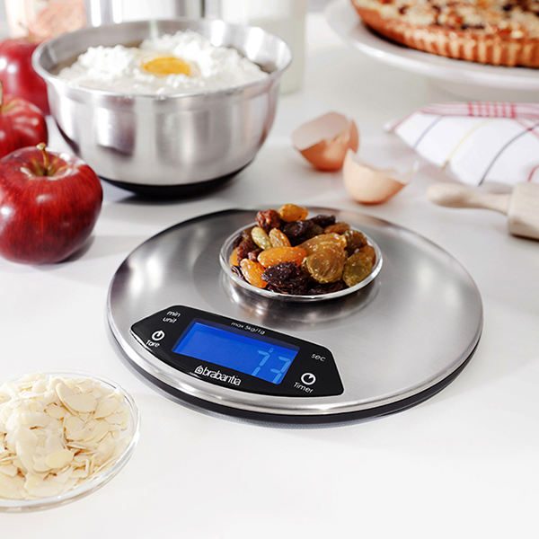 Кухненска везна Brabantia Profile Matt Steel, дигитална, с таймер, кръгла(3)