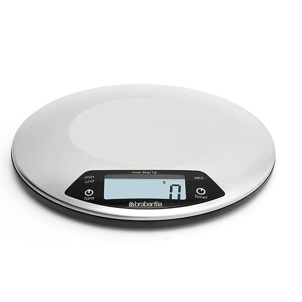 Кухненска везна Brabantia Profile Matt Steel, дигитална, с таймер, кръгла