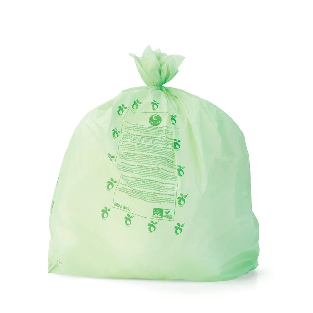 Торба за кош Brabantia размер C, 10-12L, 10 броя, зелени, биоразградими(2)