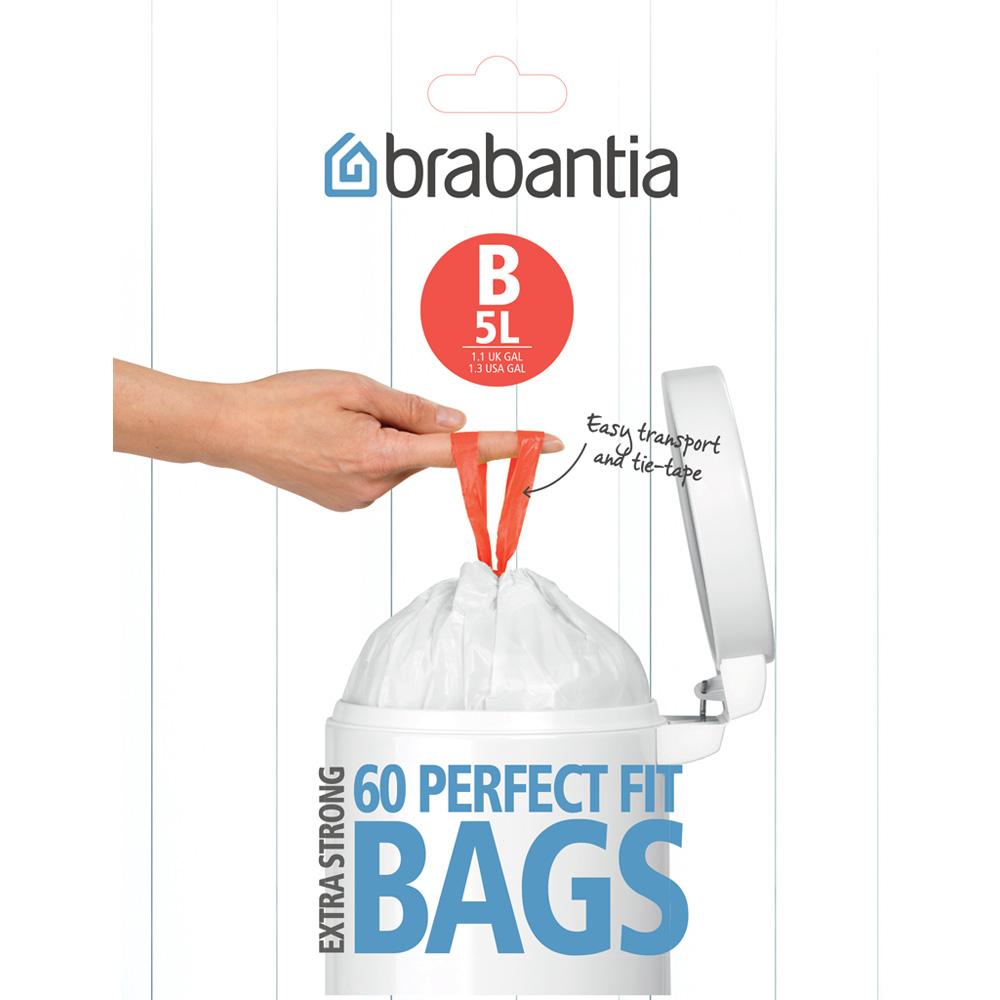 Торба за кош Brabantia размер B, 5L, 60 броя, бели