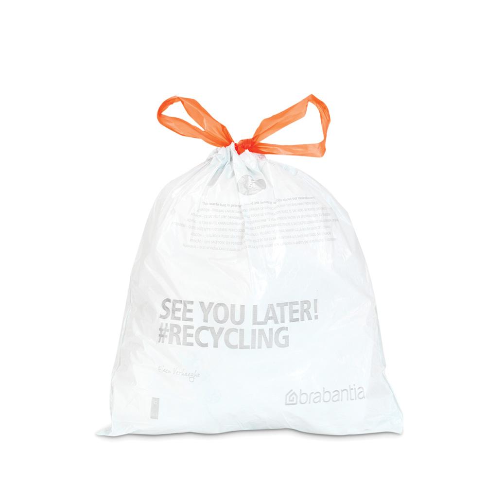 Торба за кош Brabantia размер B, 5L, 60 броя, бели(1)