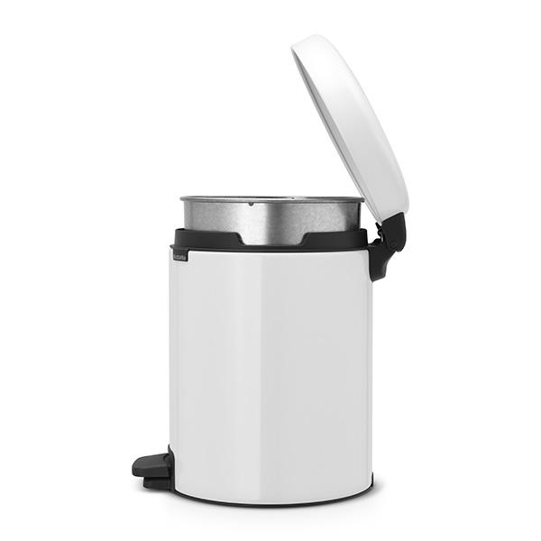Кош за смет с педал Brabantia NewIcon 5L, White, метална кофа(2)