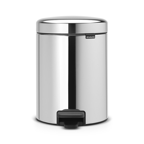 Кош за смет с педал Brabantia NewIcon 5L, Brilliant Steel, метална кофа