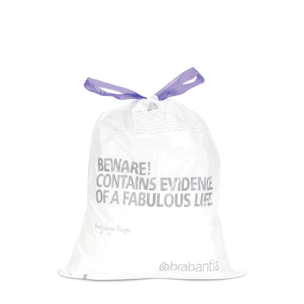 Торба за кош Brabantia размер B, 15-20L, 40 броя, бели(1)
