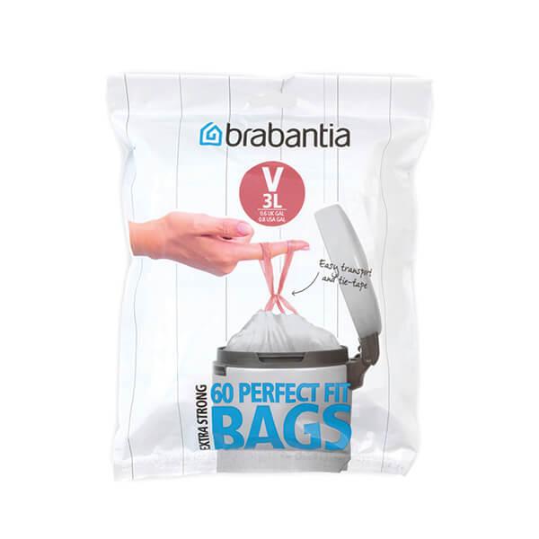 Торба за кош Brabantia размер V (NewIcon), 3L, 60 броя, бели