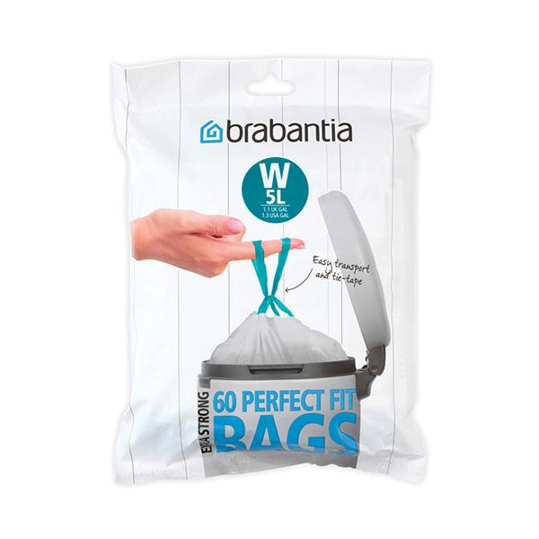Торба за кош Brabantia размер W (NewIcon), 5L, 60 броя, бели