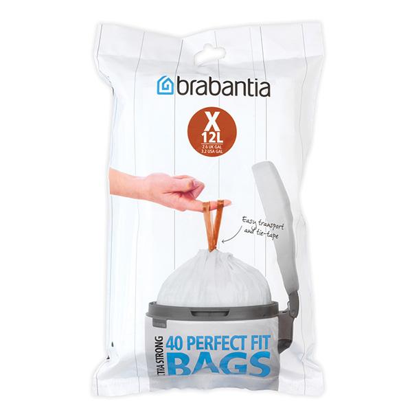 Торба за кош Brabantia размер Х (NewIcon/Bo), 10-12L, 40 броя, бели