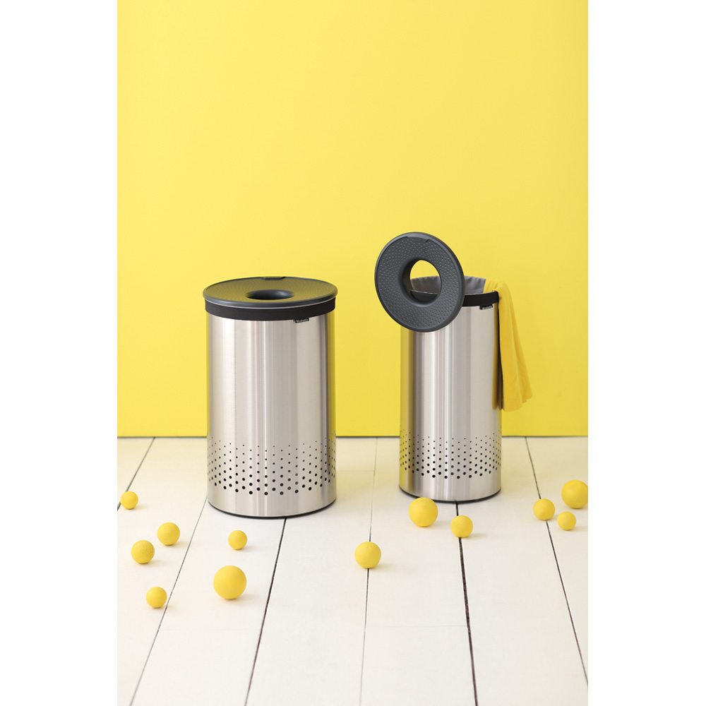Кош за пране Brabantia 35L, Matt Steel, пластмасов капак(1)