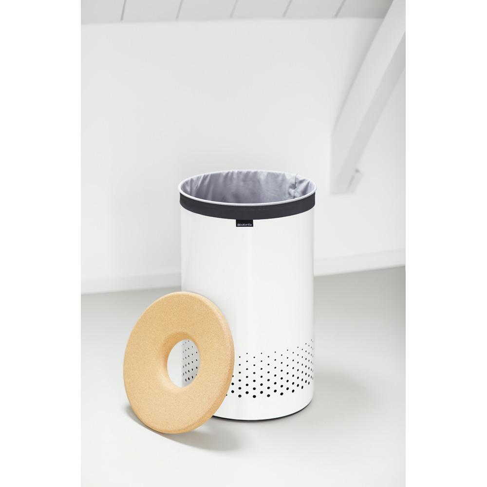 Кош за пране Brabantia 60L, White, корков капак(3)