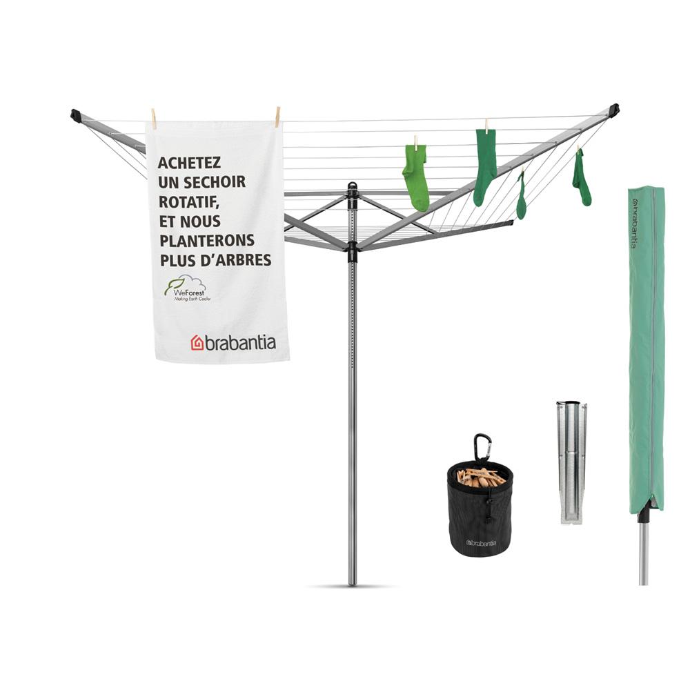 Външен простор Brabantia Lift-O-Matic Advance 50m, метален шиш за вкопаване или бетониране, калъф, торба за щипки